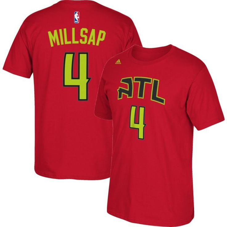 adidas Youth Atlanta Hawks Paul Millsap #4 Red T-Shirt, Kids Unisex, Size: Medium, Team