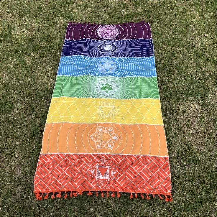 7 Chakra Symbol Wall Hanging or Summer Beach Yoga Mat