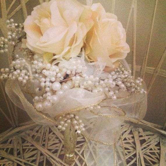 Silk rose and pearl bridal bouquet.Cream , ivory and gold everlasting bouquet for boho or vintage lover with long trailing organza ribbon  on Etsy, $145.00 AUD