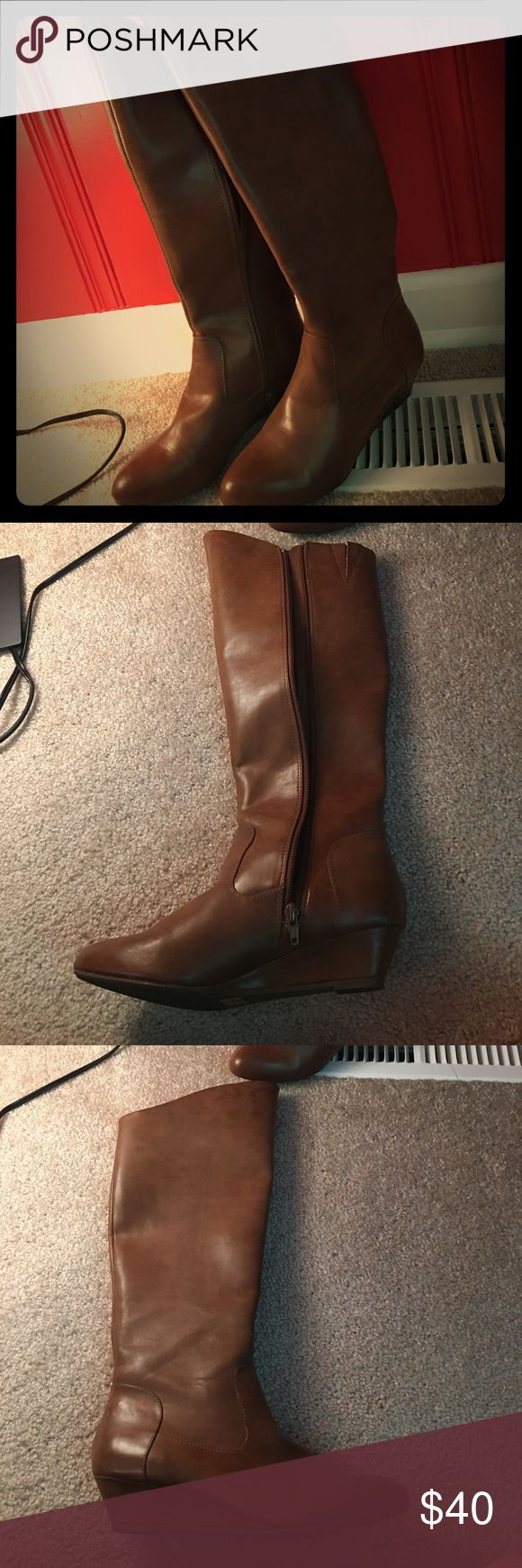 """Brown leather boots size 7.5, small heel These are lovely chestnut or brown colored leather boots sized 7.5. They have a small heel 1"""" and have been worn maybe twice because they were a little tight on my upper calves. BC Footwear Shoes Heeled Boots"""