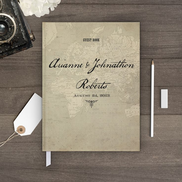 Nostalgic Imprints Inc. - Vintage Map, Rustic, Chic and Shabby Wedding Guest Book