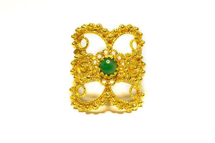 18K gold filigree ring with Emerald  Anello in filigrana in oro 18Kt con Smeraldo loredanamandas.com
