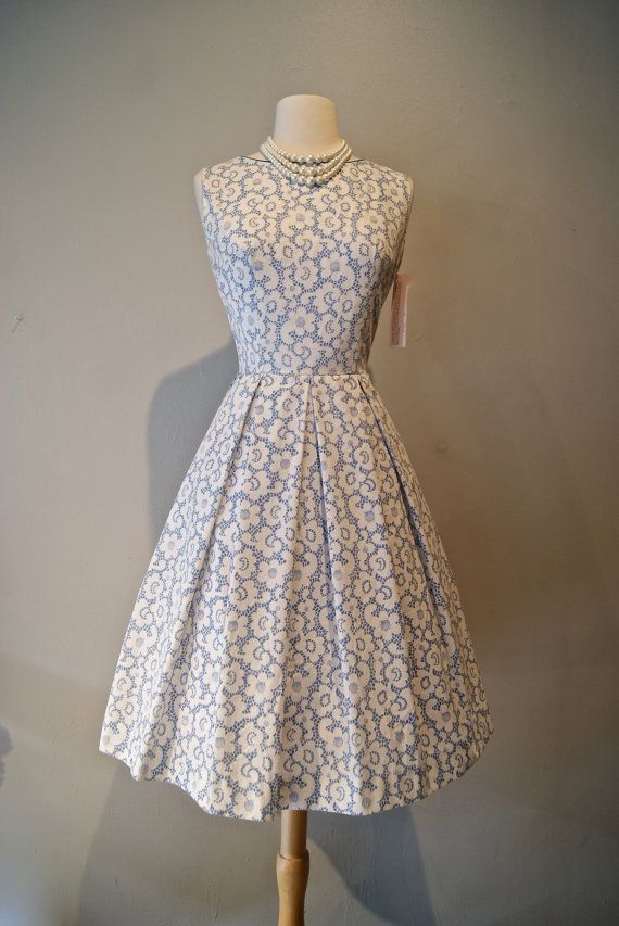 Vintage 1950s Cotton Lace Print Party Dress / 50s by xtabayvintage, $148.00