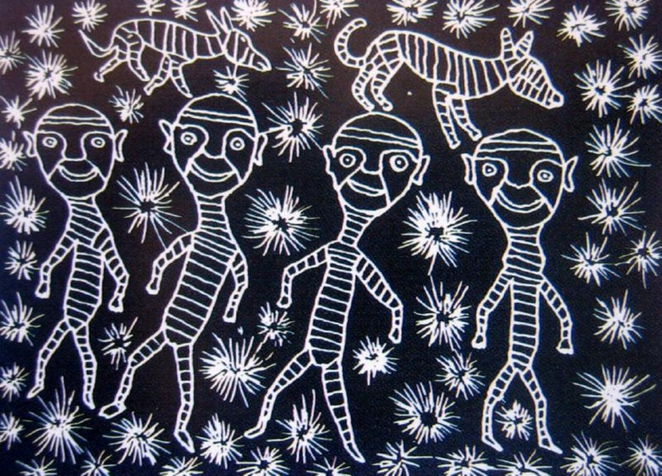 Starry Sky with Figures and Dingoes