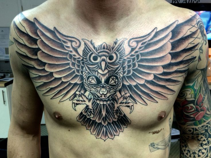 All shade completed today on this freehand chest piece, colour will be added next session