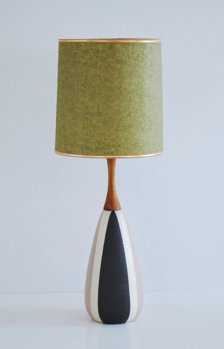 Mid Century Danish Ceramic Teak Table Lamp