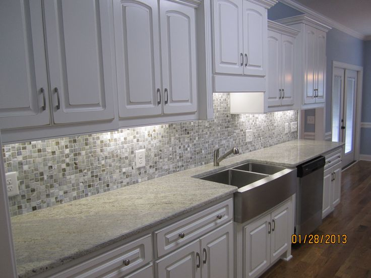Kitchen Gray Granite Countertops : Image result for cream cabinets grey glass backsplash