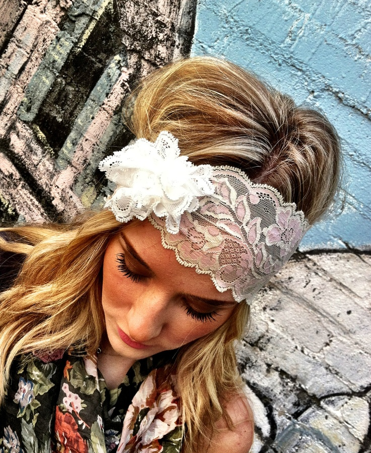 WHITE Lacy Wide Headband with White Lace Flower Stretchy Wedding Hair Band. $28.00, via Etsy.
