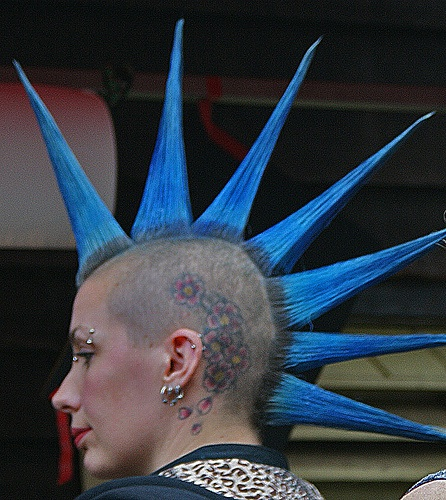 punk girl with blue hair #punk #fashion #mohawks