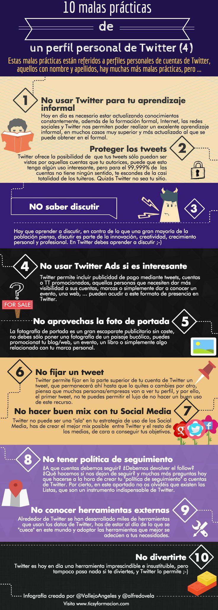 10 malas prácticas de un perfil personal de Twitter (IV). #infografia