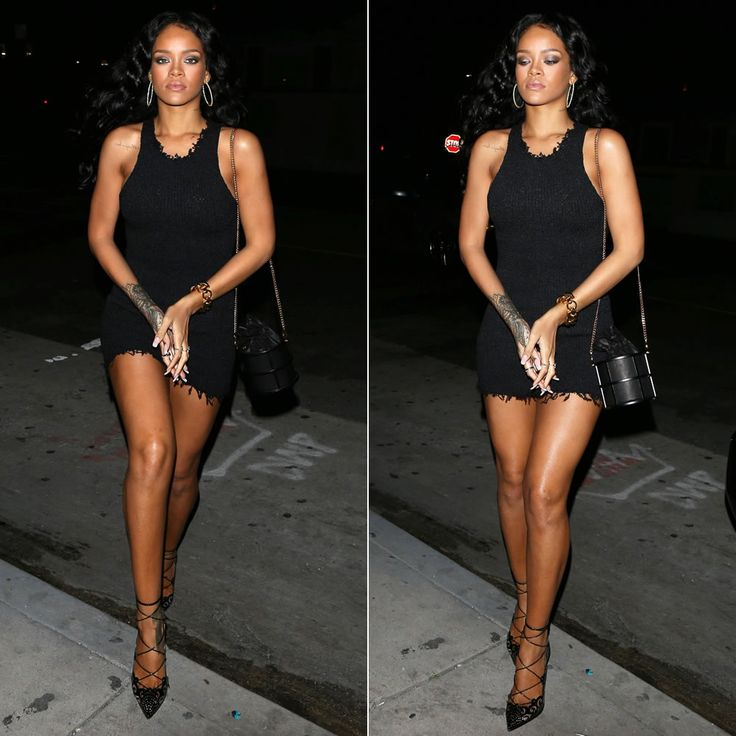 Rihanna wearing Celine dress and carrying Janvier Venus in Furs black leather cage bag. Christian Louboutin pumps.