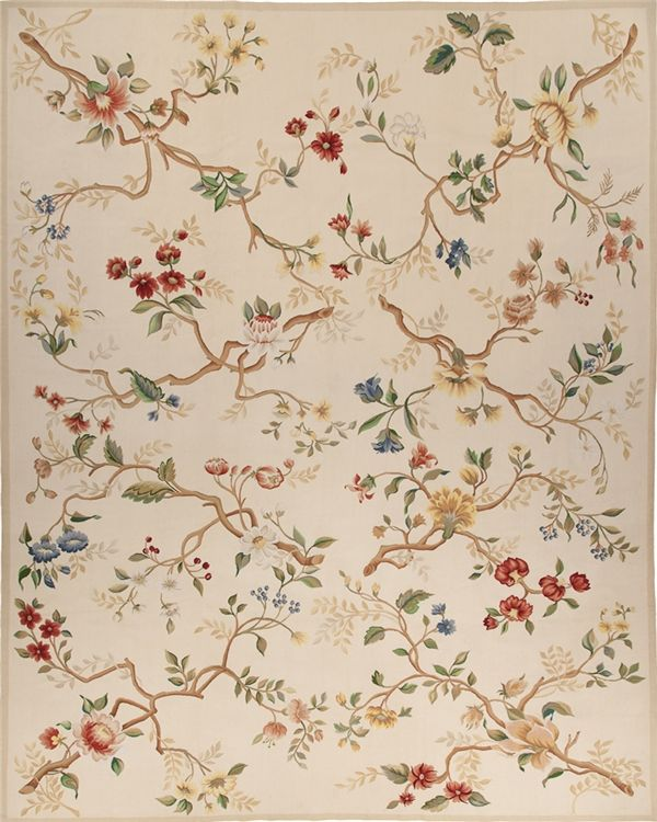 Branches Aubusson Rug 5151E. Based on an original Asmara painting by Elizabeth Moisan, an admirer of the great 18th century English textile artist Ana Maria Garthwaite. The colors are inspired by early 20th century English botanical paintings. Wedgewood blue, violet, butter-yellow and garnet flowers branch out to make a trellis on a pale yellow ground. Made with ancient French Aubusson dyeing and weaving methods, this hand woven Aubusson flat weave rug has thousands of subtle color shades…