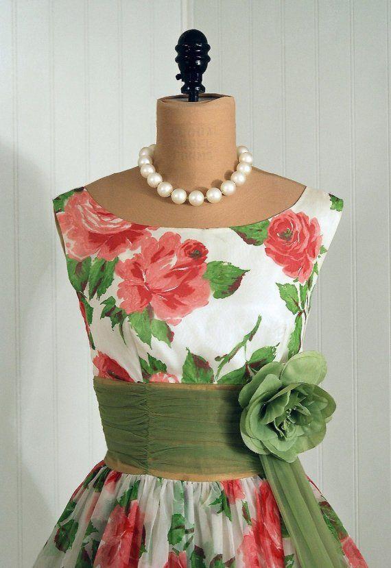 vintage dress #1950 #vintagedress #floral. LOOOOOOOOOOOOOOOOOOOOOOOOOOOOOOOOOOOOOOOOOOOOOOOOOOOOOOOOOOOOOOOOOOOOOOOVE!!!!!!!!!!!!!!!!!!!!!