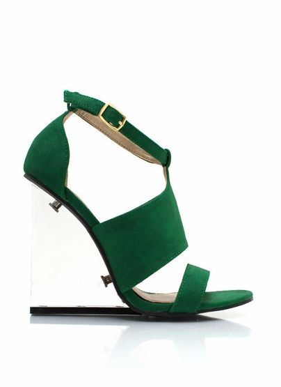 strappy lucite wedges