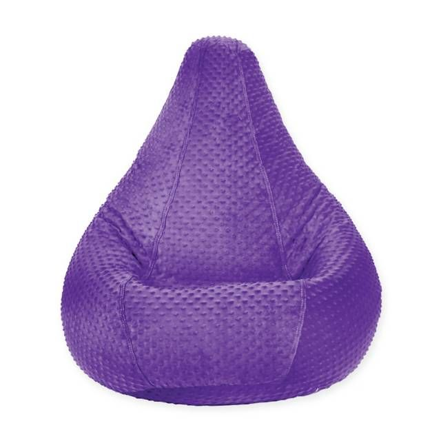 product image for Adult Size Minky Dot Bean Bag Chair in Purple