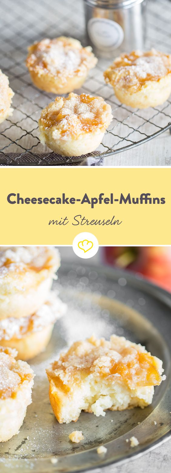 Unten fluffiger Rührteig, darauf cremiger Cheesecake, getoppt von fruchtigem Apfelkompott und gekrönt von knusprigen Streuseln - alles in einem Muffin.