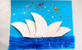 Looking for ways to get into Australia Day? Click here to see a spectacular Sydney Opera House collage craft idea for kids. Easy craft for Australia Day.