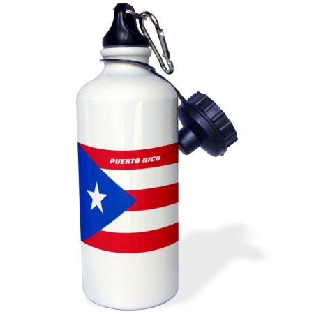 3dRose State Flag Of Puerto Rico, Sports Water Bottle, 21oz, White