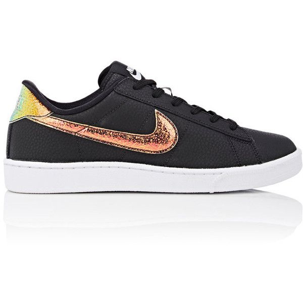 Nike Women's Tennis Classic Premium Sneakers ($90) ❤ liked on Polyvore featuring shoes, sneakers, black, black leather shoes, leather sneakers, nike trainers, tennis trainer and black lace up shoes
