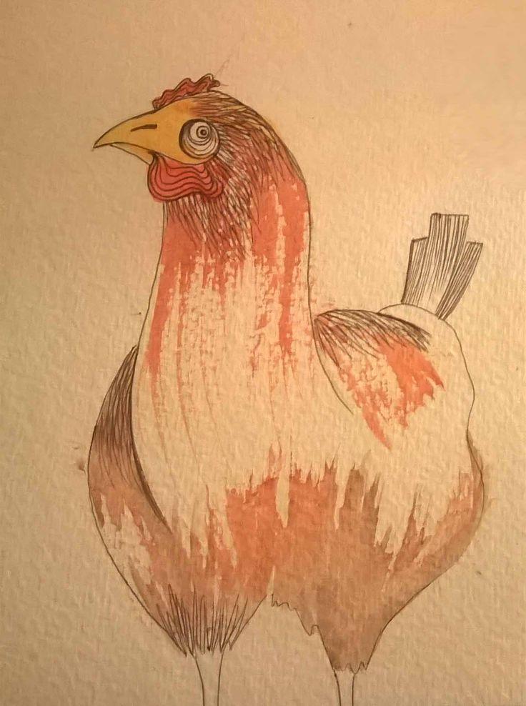 gallina biro e acquerello #animal #illustration by Teresa Mazzanti