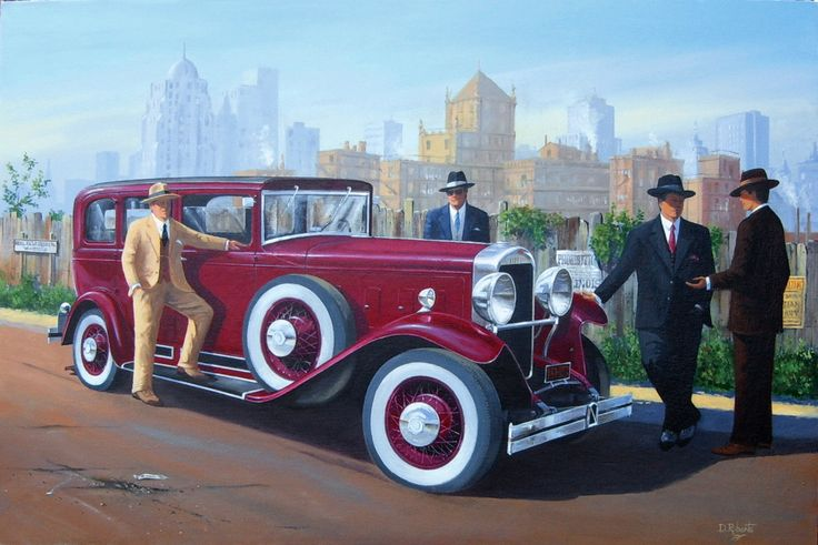 1930's scene of 'gentlemen' discussing business beside a Marmon car outside Chicago.
