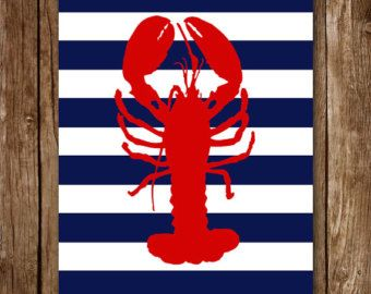 Caballito de mar para imprimir rayas art  rojo azul marino
