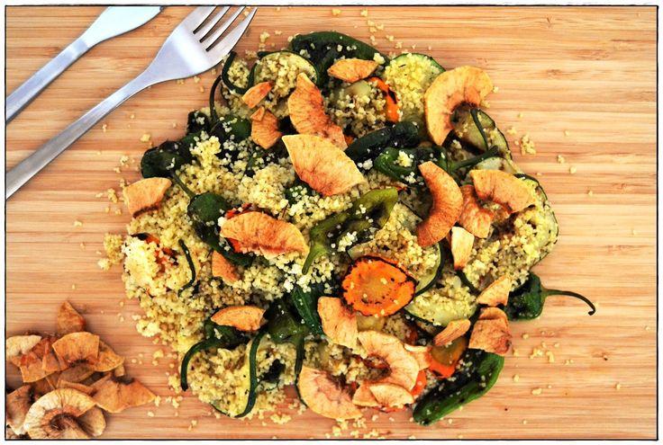 Receita de filetes de solha e couscous com legumes assados