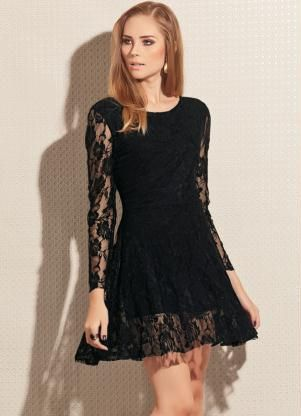 Código: 1271356 Vestido de Renda Preto