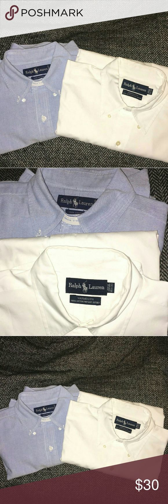 RALPH LAUREN MENS LONG SLEEVE BUTTON UP Two nice Ralph Lauren Mens Shirts - BOGO! Back from the Dry Cleaner: White & Light Blue Ralph Lauren Black Label Shirts Dress Shirts