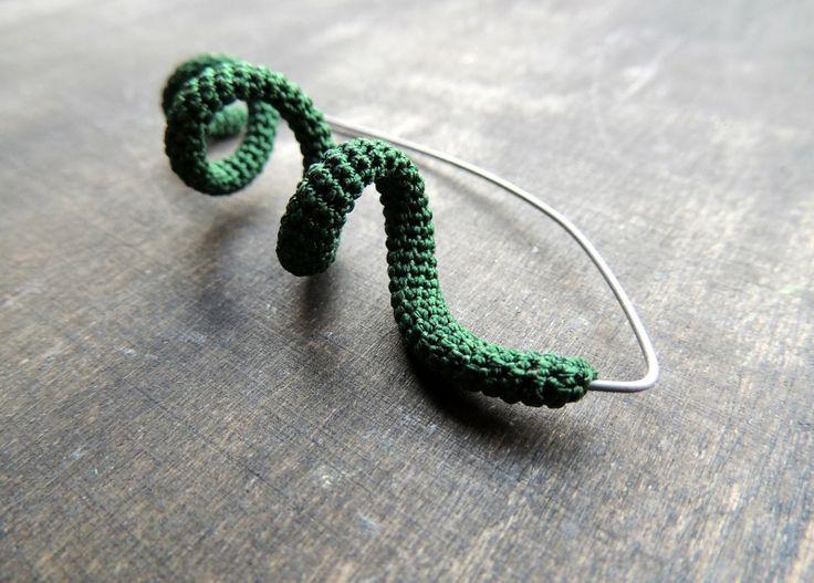 titanium forest green silk crochet brooch