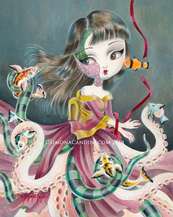 Rite de Passage à tirage de Kiyoko limité signé numéroté Simona Candini lowbrow pop surréaliste japonais gros yeux poissons de Koi fille pieuvre