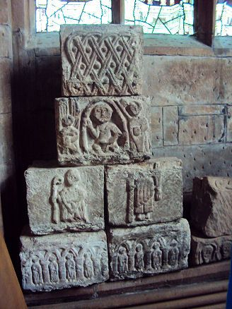 Anglo-Saxon Stones, St Mary's church, Acton, Cheshire, England.