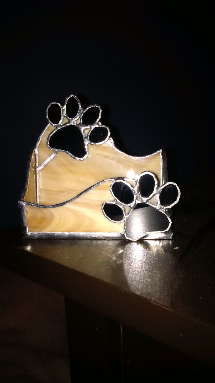 My Own Design Dog Paw Business Card Holder Stained Glass