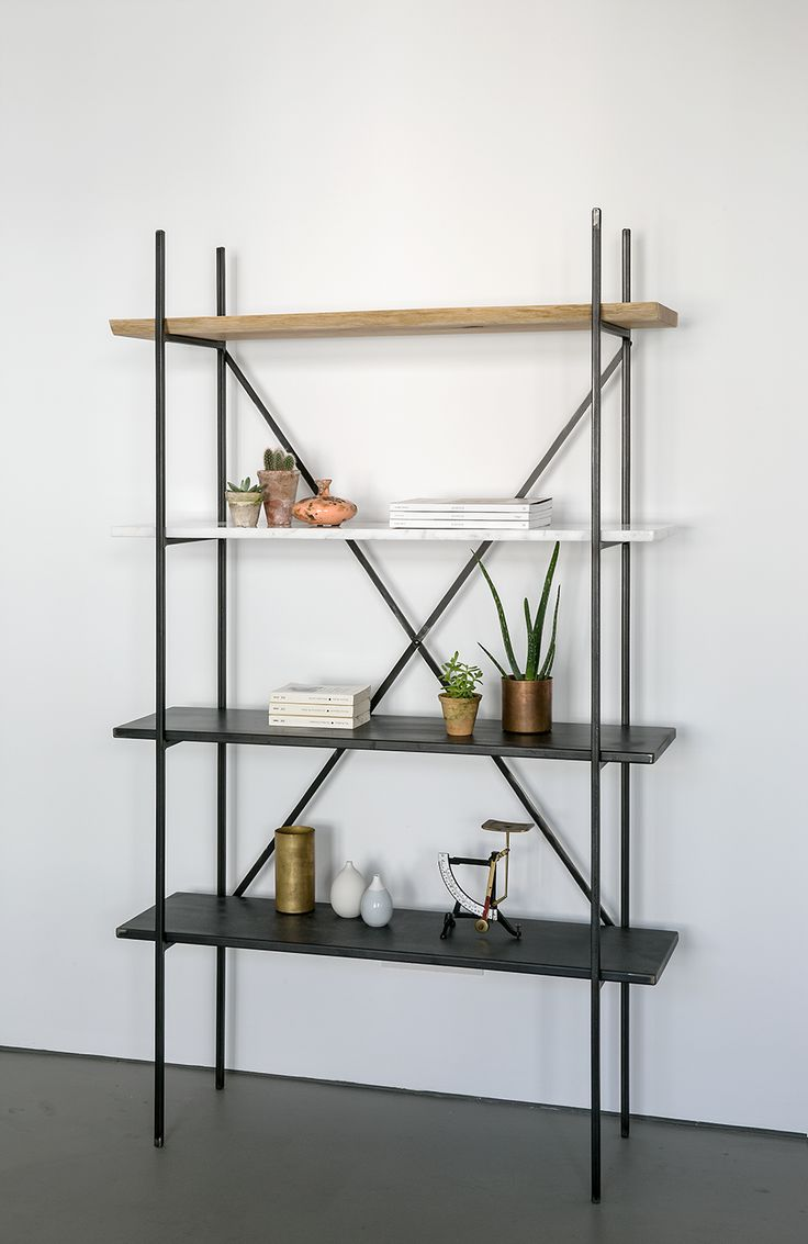 Industrial Iron Marble Shelf by NUTSANDWOODS