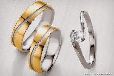 Compre já o seu Par de alianças com corte diagonal em ouro 18k e anel solitário em prata, em 12x sem juros de R$ 45,83 + frete grátis.