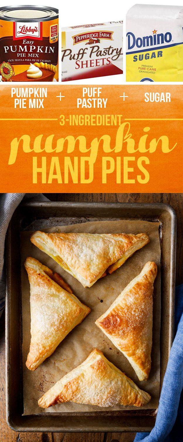 Pumpkin Pie Mix + Puff Pastry + Sugar = Pumpkin Hand Pies | 13 Genius Three-Ingredient Desserts To Make For Thanksgiving