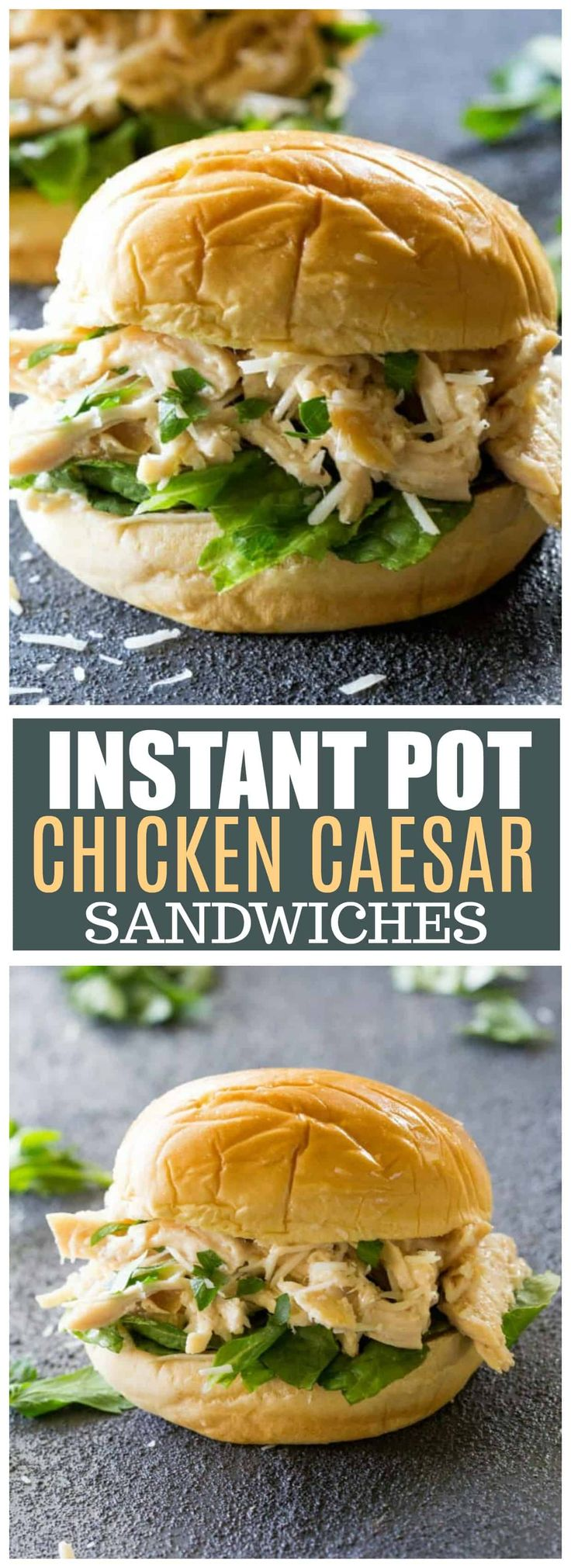 These Instant Pot Chicken Caesar Sandwiches can be made in the Instant Pot or the Slow Cooker. These are a tried and true favorite dinner. the-girl-who-ate-everything.com