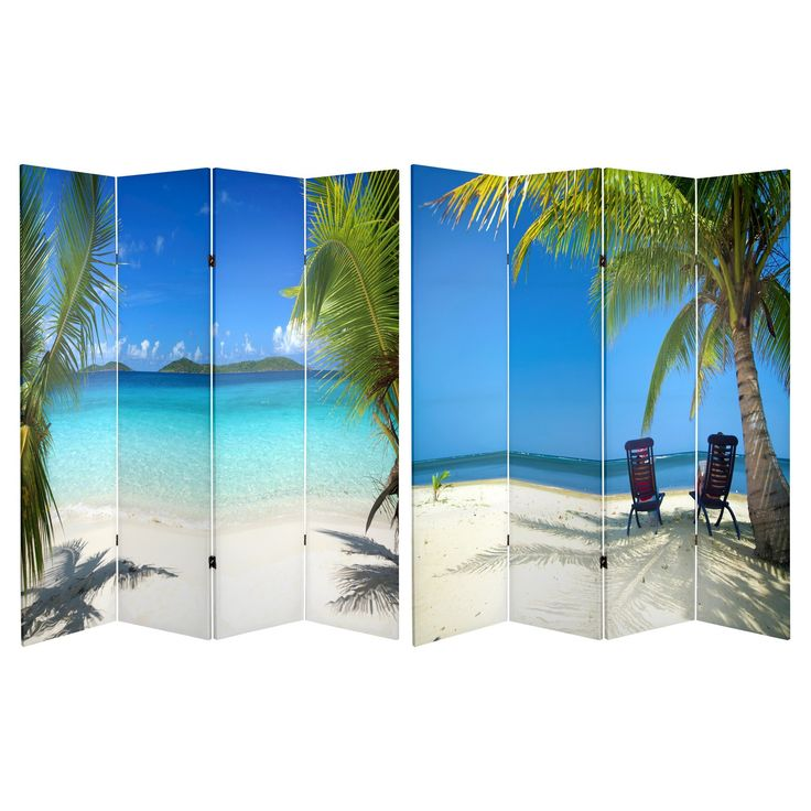 Superb Ocean Scene Double Sided Room Divider   Oriental Furniture, Blue