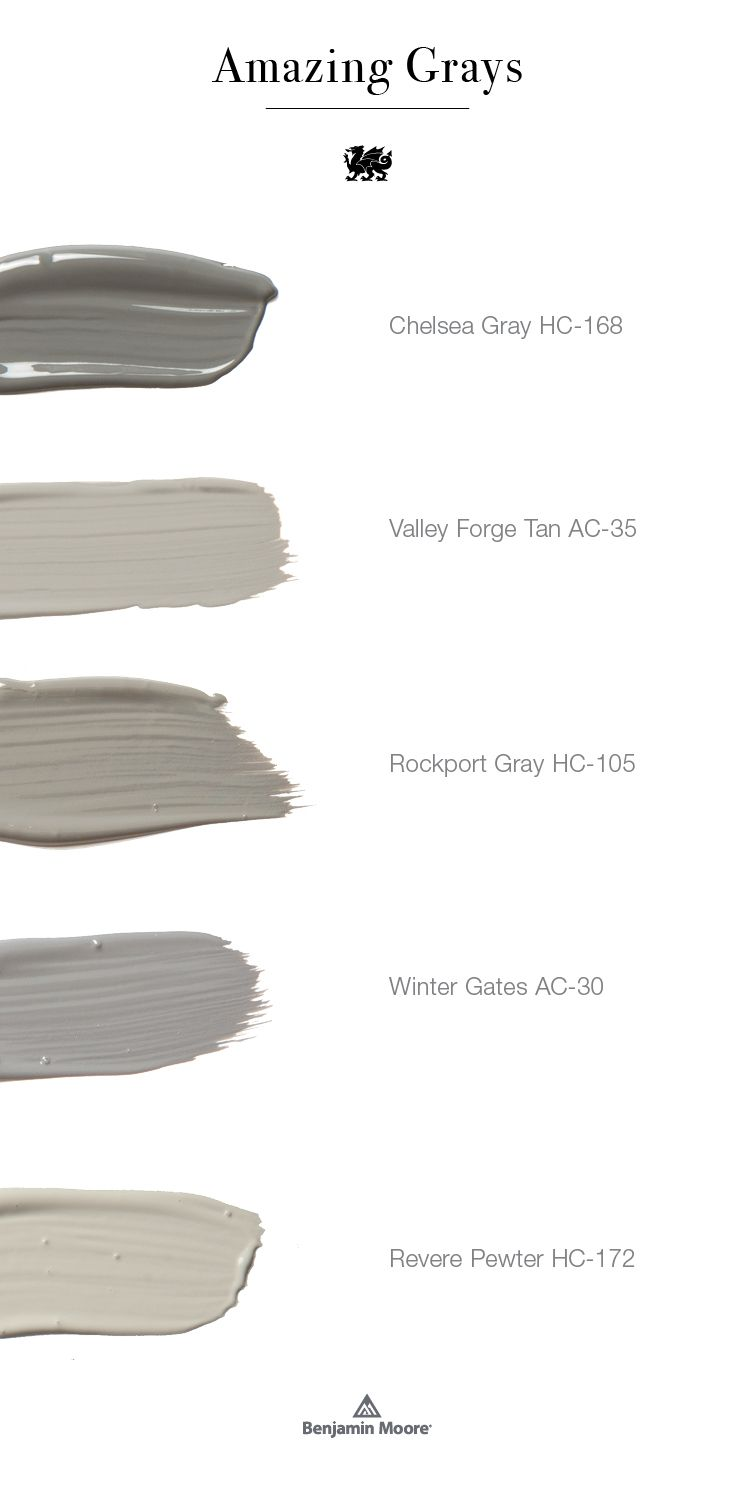 Gray is one of the most versatile hues in the spectrum. Get expert design tips for designing with this lovely neutral, whether you're looking for the perfect shade for your gray kitchen or planning a palette of amazing grays. These five gray paint colors from @benjamin_moore work beautifully individually or paired in any space you may be planning.