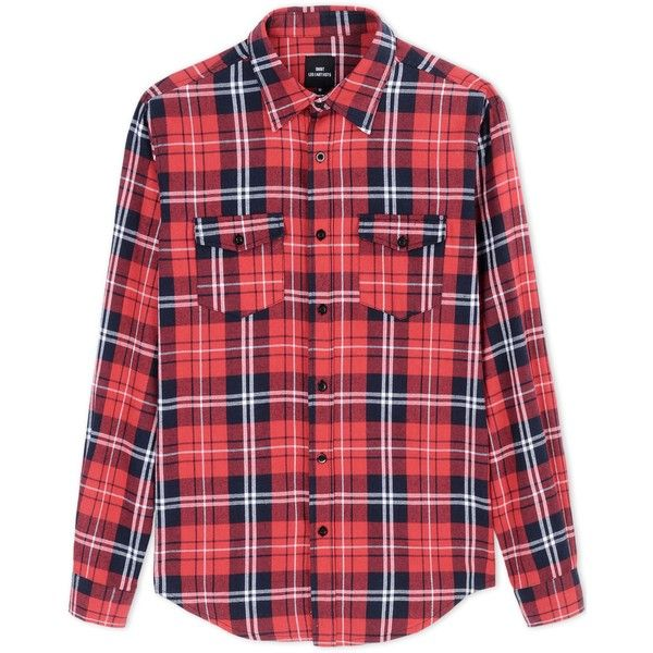 Les (Art)Ists Long Sleeve Shirt ($57) ❤ liked on Polyvore featuring mens, men's clothing, men's shirts, men's casual shirts and red