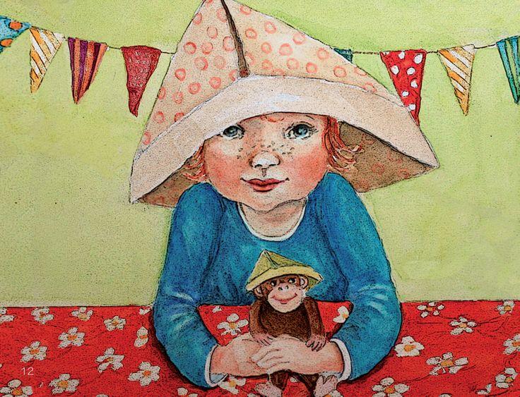 hoedje van papier. Illustratie uit het liedjesboek 'k zing een liedje voor jou ontwerp wieneke van leyen. www.dewereldvanwiepje.nl