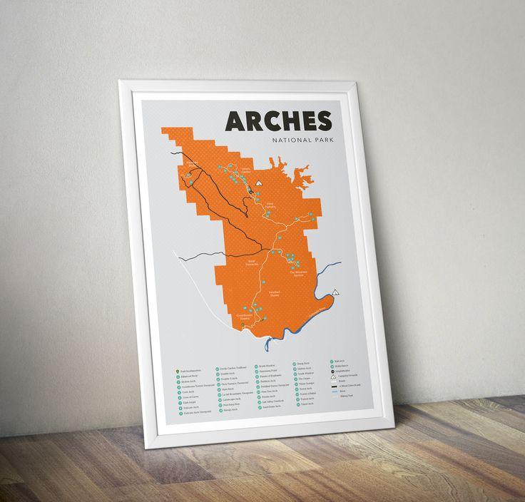Arches National Park Map, Arches National Park Print