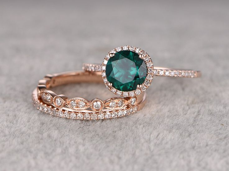 3pcs Emerald Engagement ring Set!14k rose gold,Diamond wedding band,7mm Round Cut,Bridal Ring,Retro Vintage,Art Deco,Lab-Treated Green stone by popRing on BBBGEM