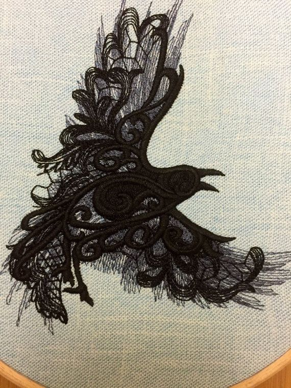 Raven / crow in flight embroidery hoop art от StitchesOfAnarchy