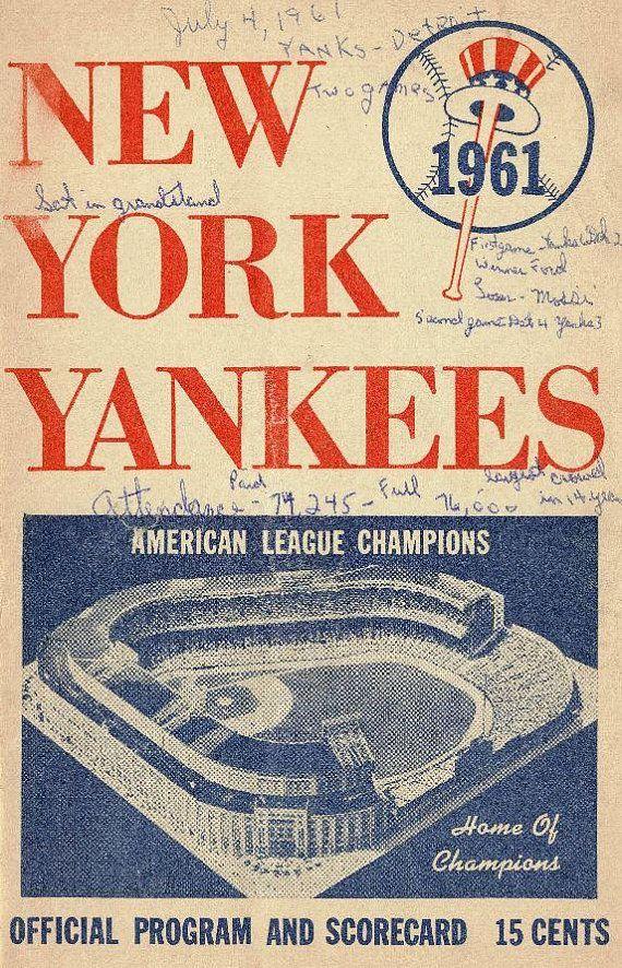 1961 New York Yankees Vintage Baseball Poster New York Yankees Baseball Art Vintage Baseball
