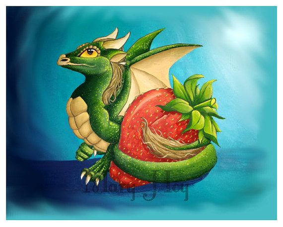 Strawberry Dragon These are prints of my original acrylic paintings. A high grade matte, photographic paper is used to produce a vibrant image as