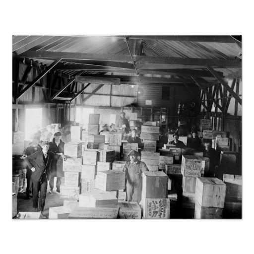 Bootleg Whiskey Warehouse, 1920. Vintage Photo