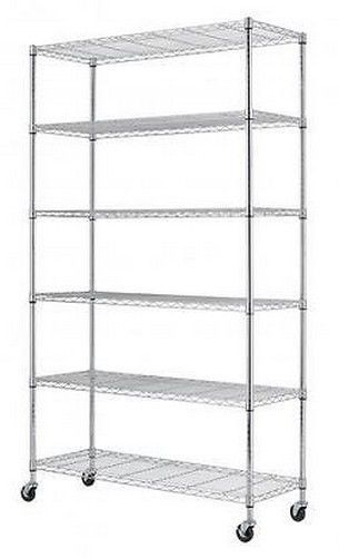 6 Tier Shelf Adjustable Steel Metal Wire Shelving Rack Commercial Black Chrome FREE SHIPPING