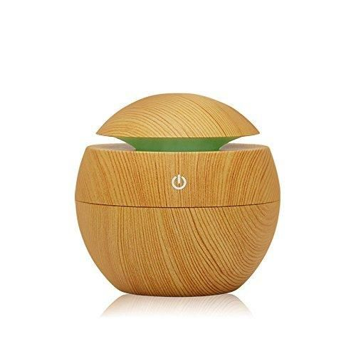 ColourStone Wood Grain 130ml Vase Version Ultrasonic Essential Aromatherapy Oil Diffuser Humidifier with Adjustable Mist Mode Waterless Auto Shut-off Function for Home Office Spa etc.