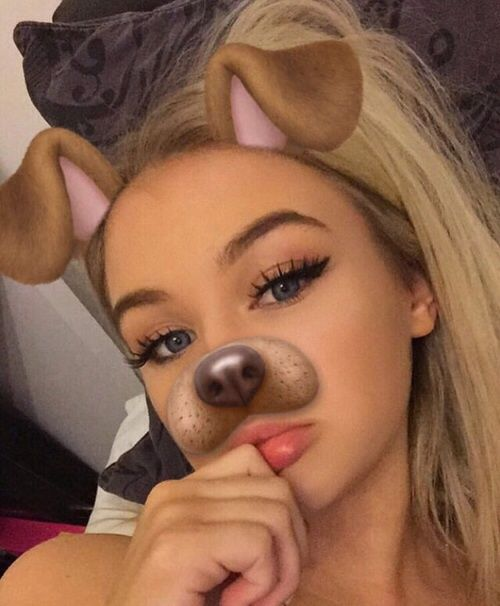 girl, snapchat, and dog image